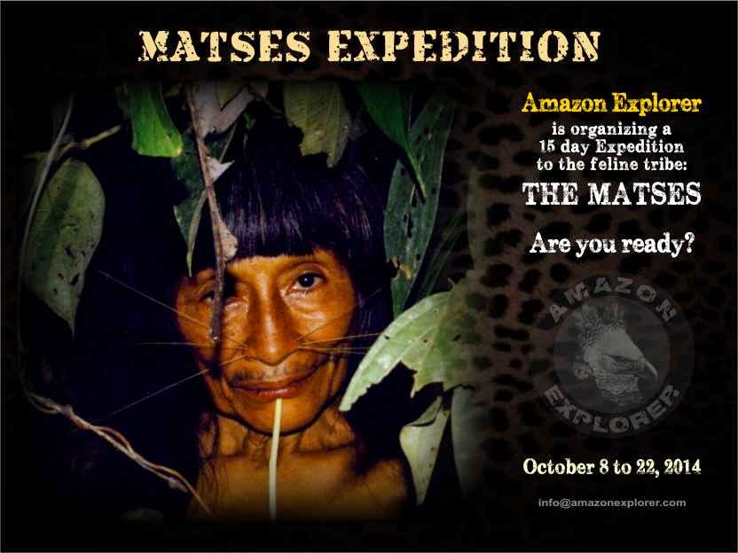 Matses/Mayoruna indigenous tribe. Amazon Explorer, Iquitos, Amazon rainforest, Peru.