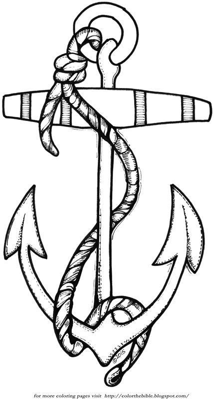 Anchor with rope color the bible for Anchor coloring page