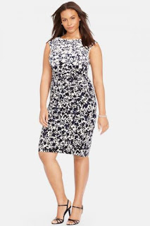 Lauren Ralph Lauren Floral Print Cap Sleeve Jersey Sheath Dress (Plus Size)