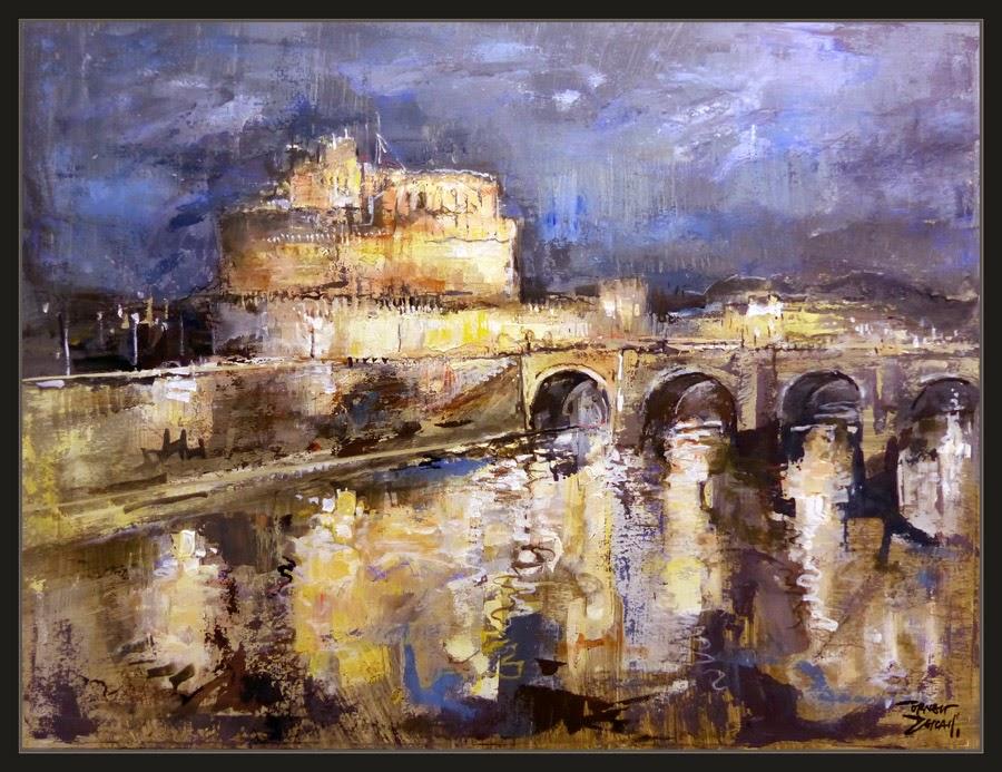 ROMA-PINTURA-SANT-ANGELO-CASTILLO-PAISAJES-NOCTURNOS-CUADROS-ITALIA-PINTOR-ERNEST DESCALS-