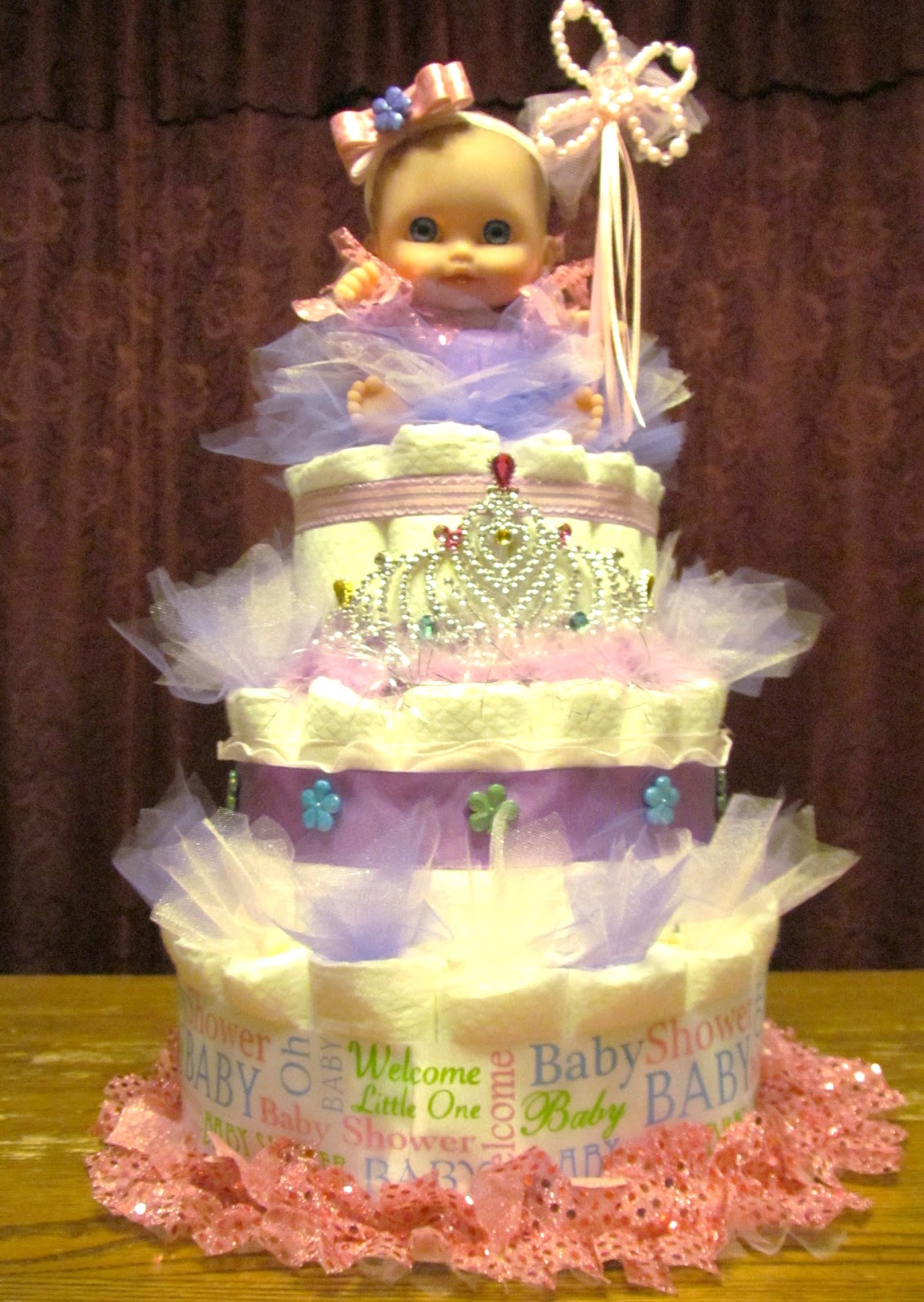 Mom 39 s little place princess diaper cake for a baby shower for Baby shower decoration diaper cake