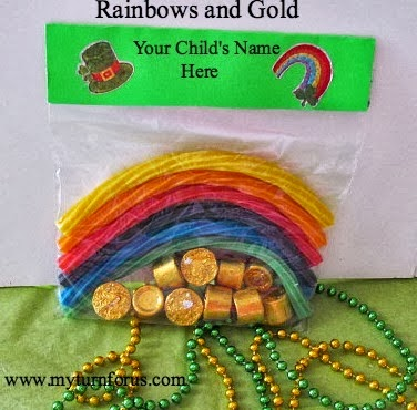 rainbows and gold St. Patrick's Day treat bag
