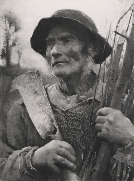 Sir George Clausen, RA, 'An Old Woodman', charcoal drawing c. 1885