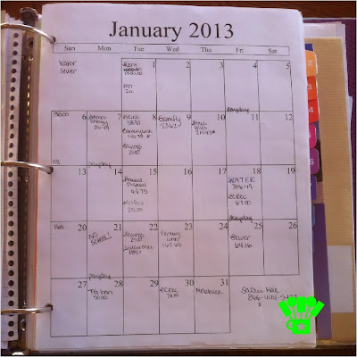 Household Management Binder with Bill Calendar