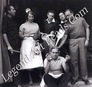 Fulco (seated) with friends at the Villa Mania, the Peed Blunt estate near Lucca, 1956.