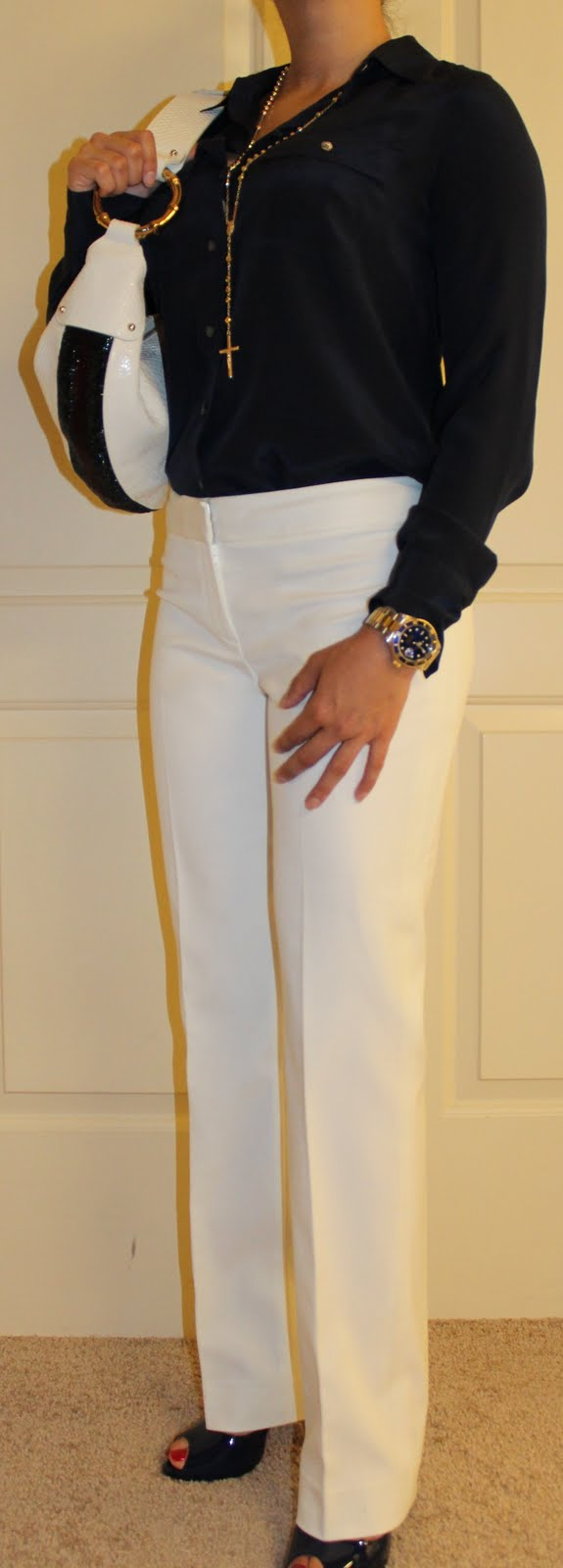 white pants and Madame Claude louboutins