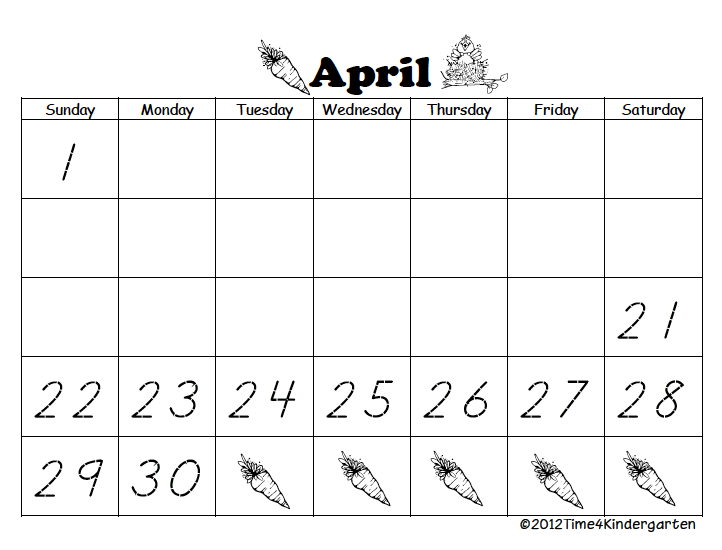 April Calendar S Kindergarten : Time kindergarten april calendar