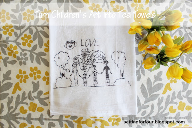 Children's Art Tea Towel from Setting for Four #diy #tutorial #craft #kid #children #activity #towel #art #kitchen