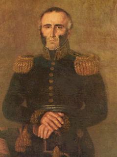 'Presidente don Juan Antonio Lavalleja', óleo sobre tela realizado por el pintor Jean Philippe Goulu (1786-1853), tomado de Wikipedia