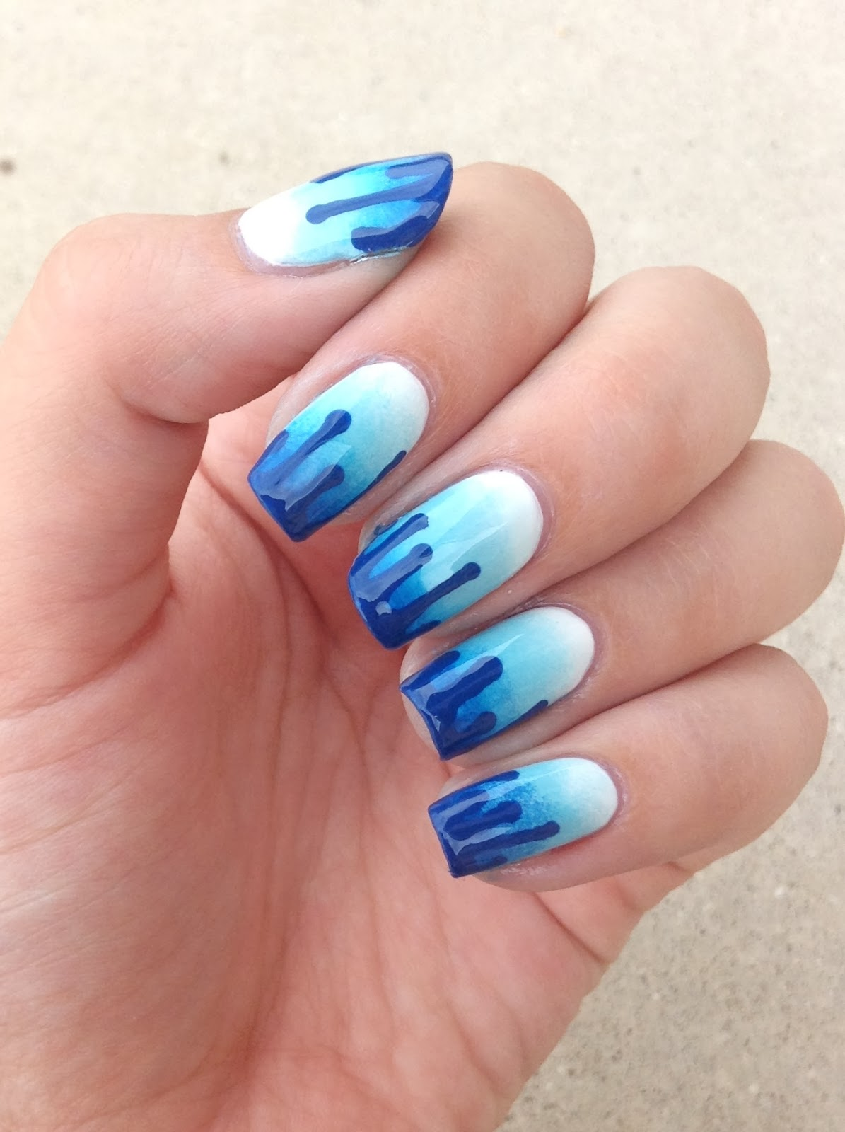 Nails by bayles august challenge ombre nail art starting i was looking at nail art on google and saw paint drip nails and in my head saw a gradient with the darker shade dripping down to the white prinsesfo Choice Image