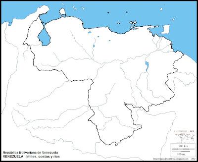Mapa mudo de VENEZUELA, limites, costas y rios