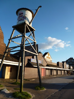 The 'Wild West' themed storefronts at the old Frontierland Theme Park in Morecambe