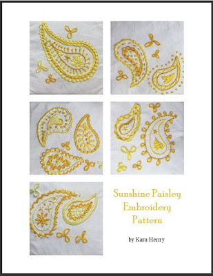 Sunshine paisley embroidery pattern PDF