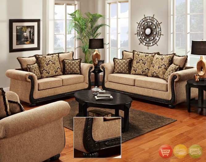 Traditional Sofas Living Room Furniture With Antique Table Lamp Best Vintage Wall Painting Color