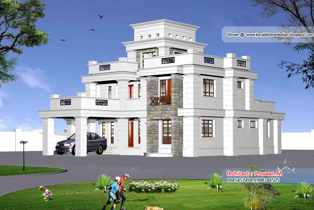 3 beautiful home elevation designs in 3d kerala home for Beautiful house design