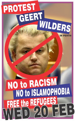 Protest Geert Wilders in Perth 20 Feb 2013