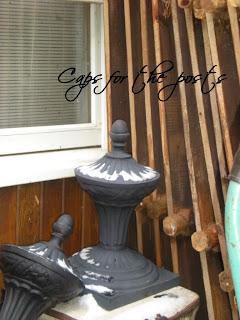 antique wrought iron arbor and gates post caps