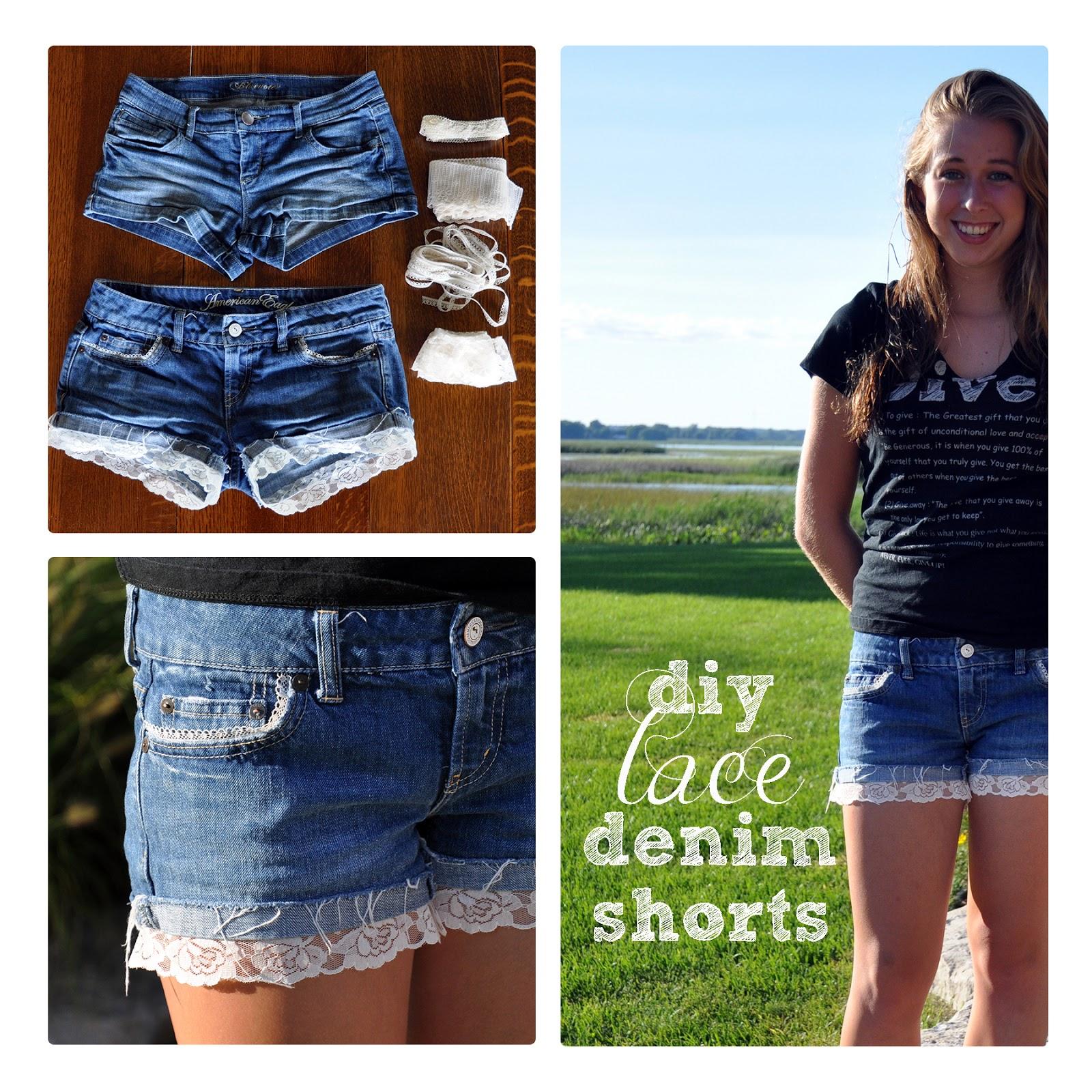 Diy shorts lace denim
