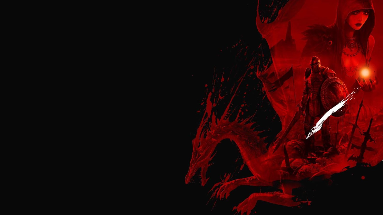 Black and white wallpapers dragon age blood red dragon for Black red wallpaper