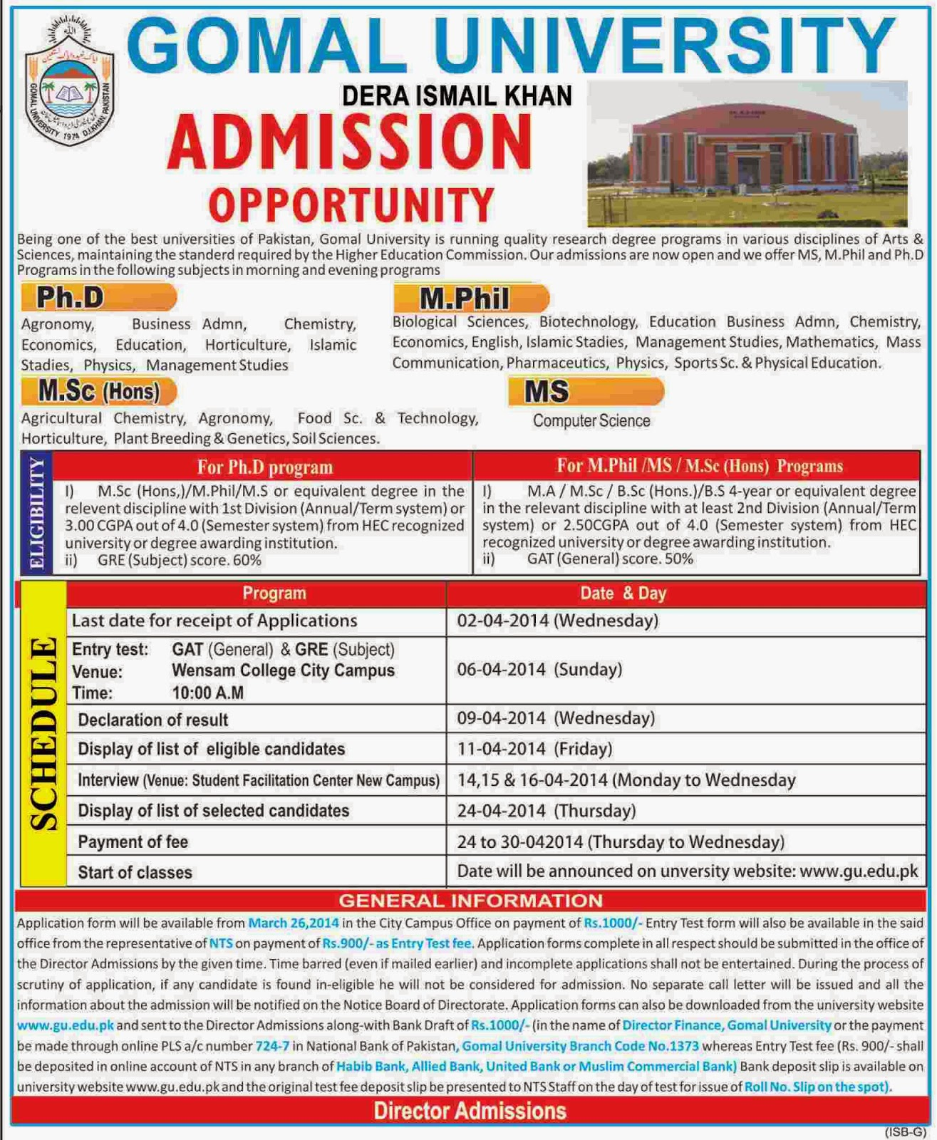 Gomal University Dera Ismail Khan Admission Open 2014