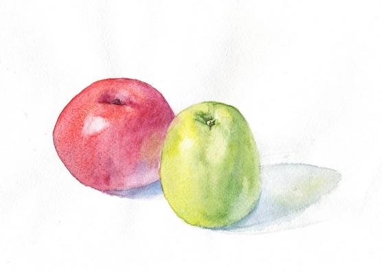 акварельные яблоки