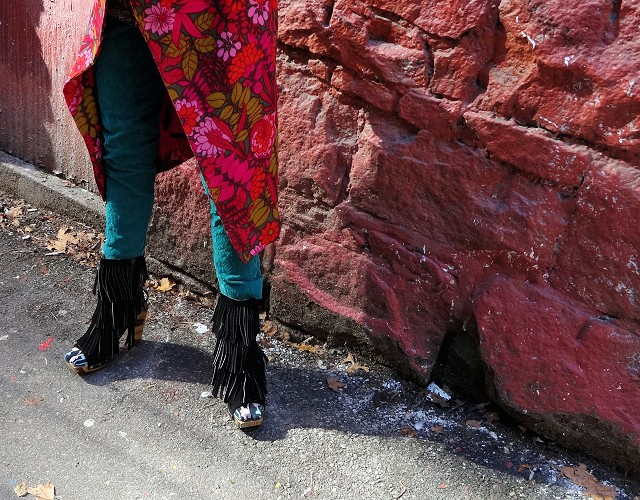 Mel Kobayashi, shaggy Fluevog booties in graffiti alley