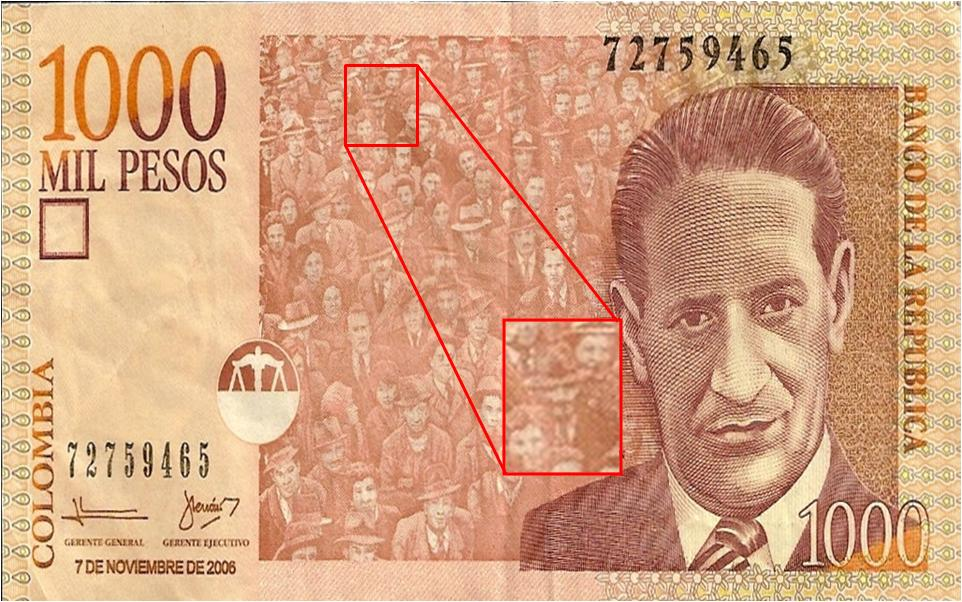 Anonymous en el billete de 1000 pesos colombianos