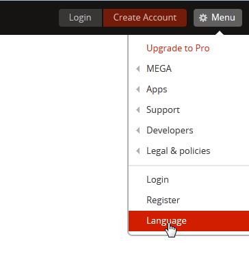clic en menu y en la opcion language