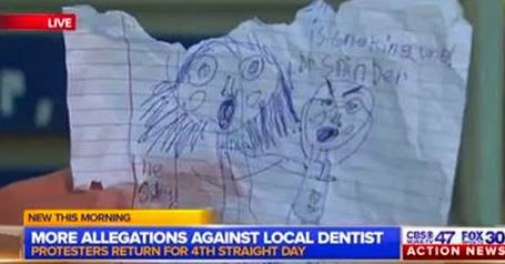 Hearing-impaired child drew picture of dentist hurting her