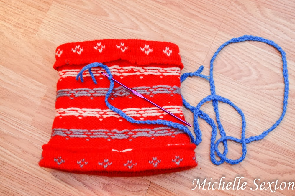 thread yarn through the top opening
