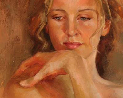 Jenna, portrait study, detail, oil on panel, by Shannon Reynolds