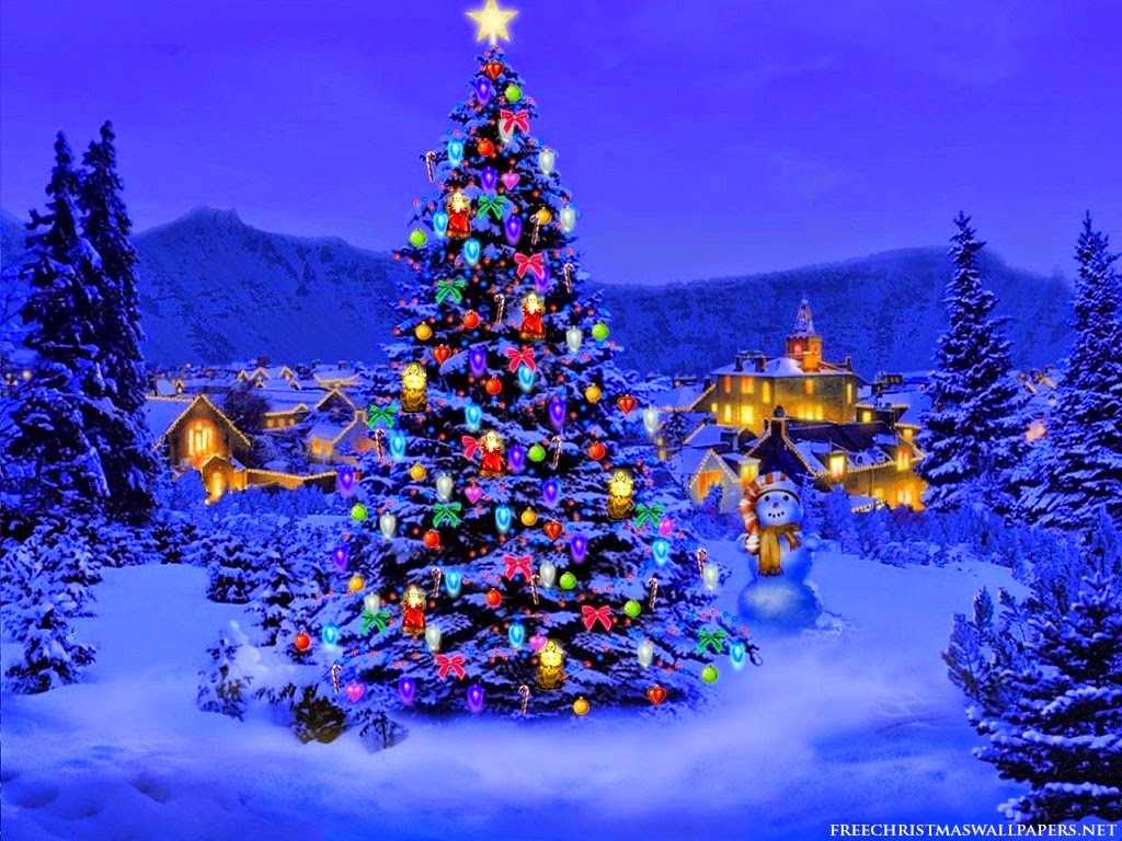 colourful christmass tree n city wallpaper