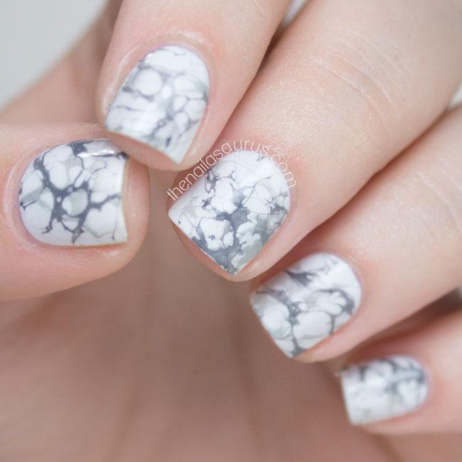 31DC2014 // White Marble Effect Nail Art | Nail Art
