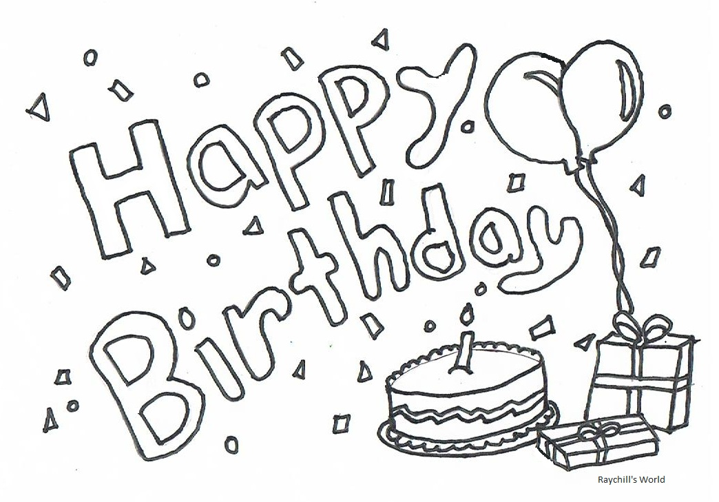 Happy Birthday Birthday Cake Coloring Pages For Grandmas