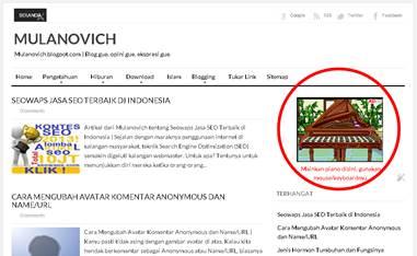 widget unik main piano di blog