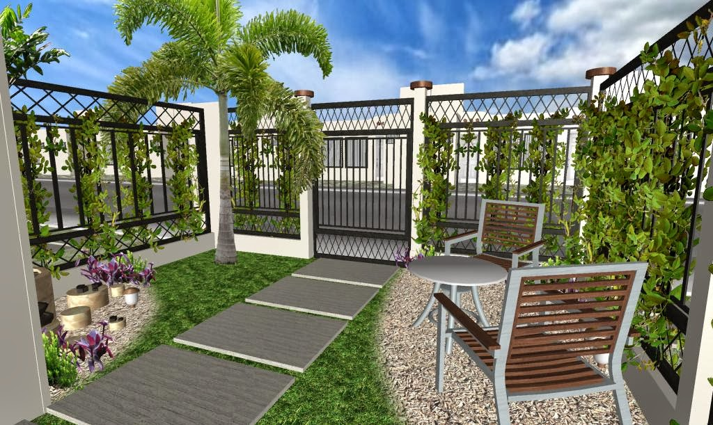Dise o 3d de jard n peque o en fraccionamiento proyectos for Diseno de jardines frentes de casas
