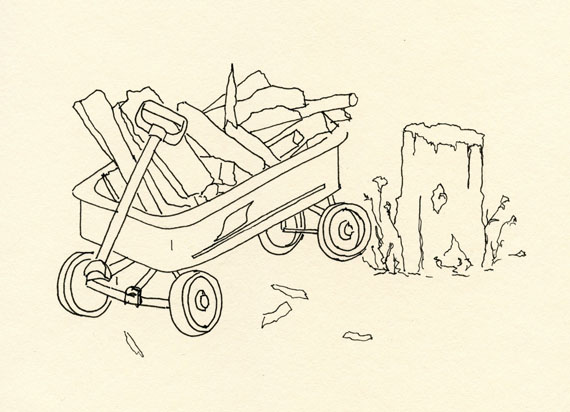 artist journal ink drawing of a red wagon filled with kindling