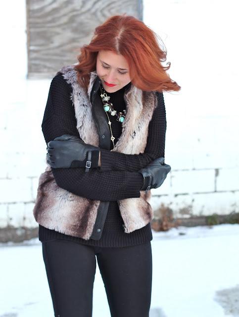 brown, faux, fur, vest