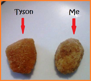 "2 nuggets: redarrow pointing to a darker one that reads ""Tyson"".  Red arrow pointing to a second one that reads ""Me"""