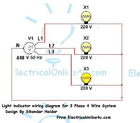 led light indicator symbol wiring diagram for 3phase 4wire system light indicator wiring diagrams for 3 phase voltage coming testing 220 Single Phase Wiring Diagram at bakdesigns.co