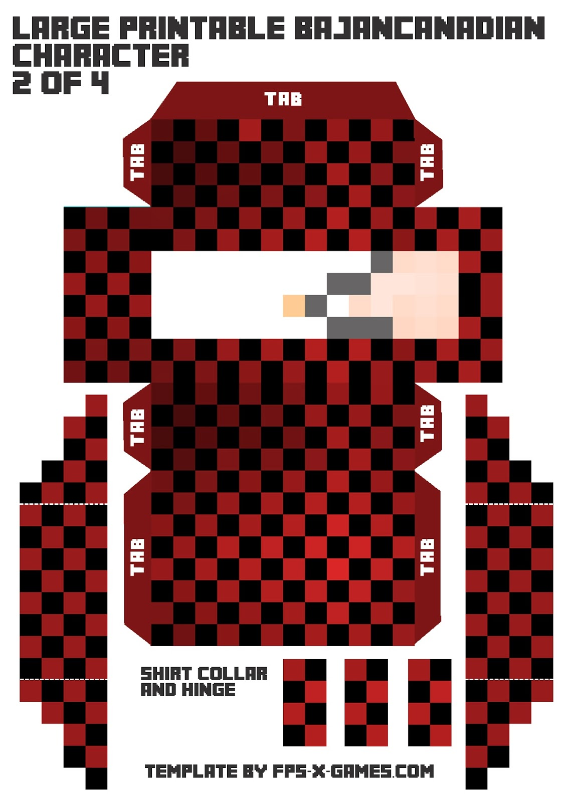 Printable BajanCanadian Minecraft Character 2 of 4
