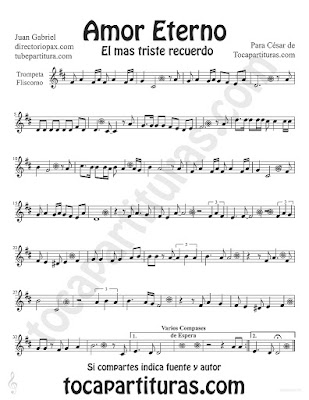 Tubescore Amor Eterno by Juan Gabriel sheet music for Trumpet and Flugelhorn Rocio Durcal Bolero music score Etern Love