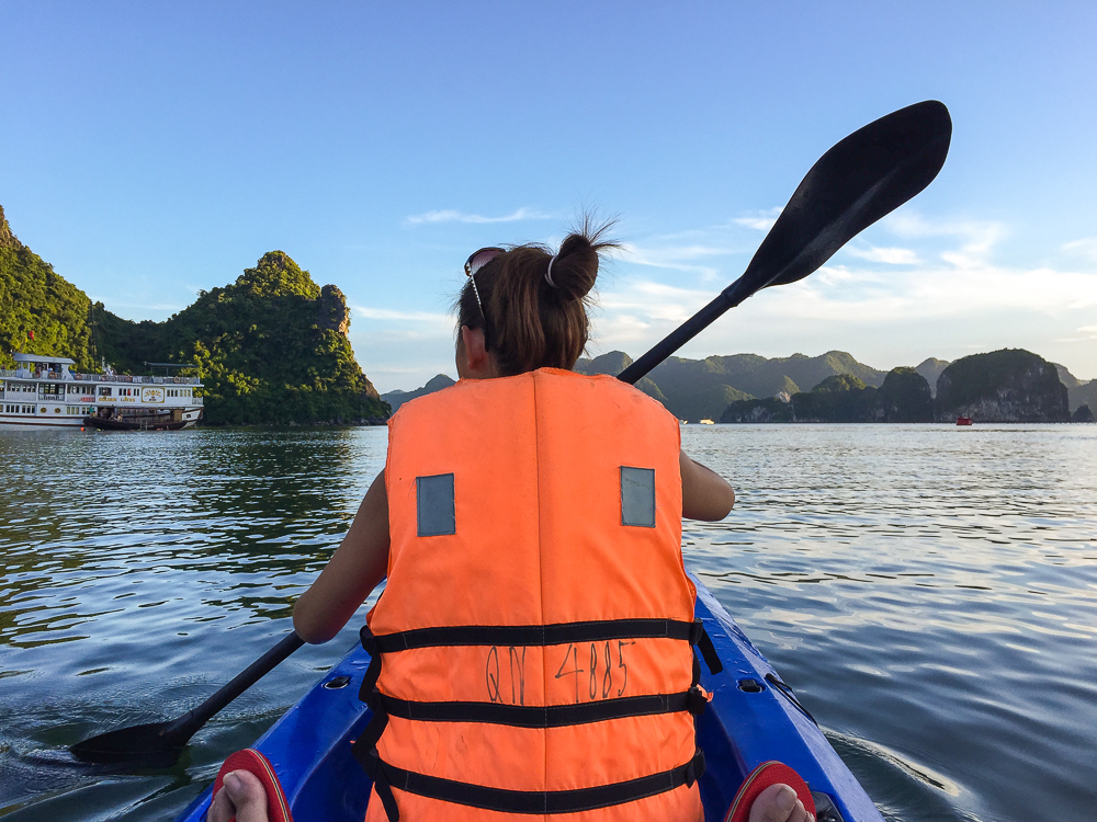 kayaking on ha long bay vietnam
