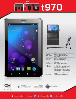 Mito T970 disebut oleh Mito sebagai phone tablet, karena memang ia