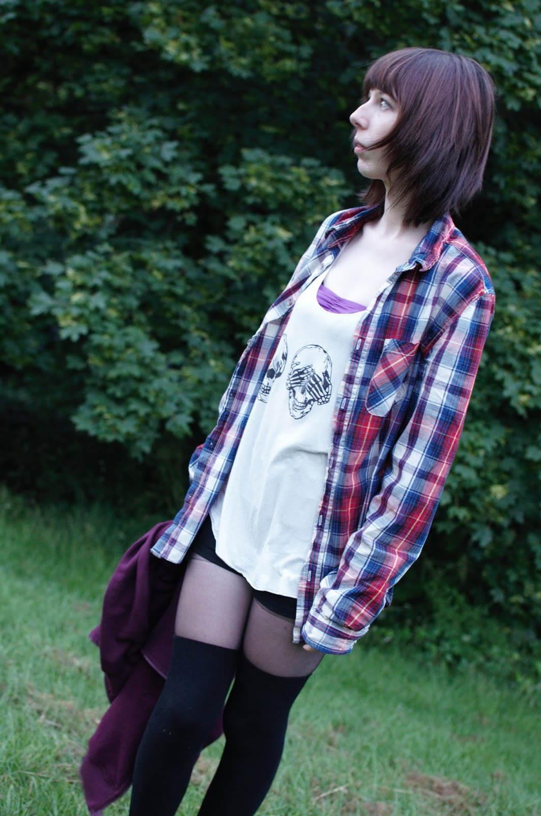 Skulls, checked shirt, Knee High Socks