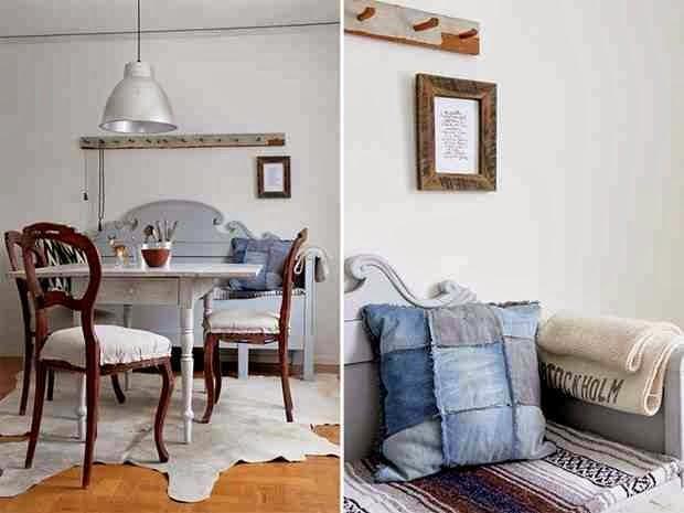 Eklektyczne wnętrze, klasyczne krzesła i rustykalne dodatki, metalowa lampa,