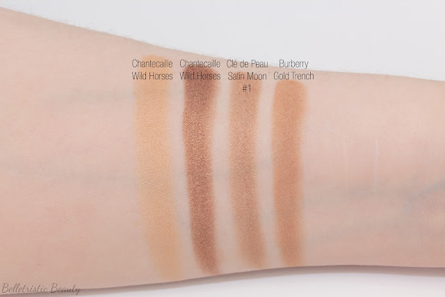 Clé de Peau Beauté CdP Satin Moon 305 comparison swatches for Shade #1 Eye Color Quad Refill Case Celestial Radiance Fall 2014 in studio lighting with forced flash