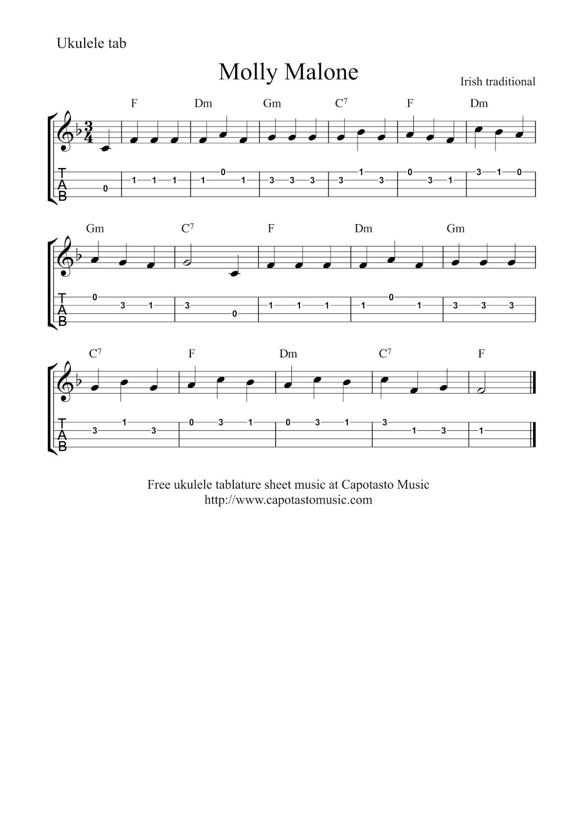 molly malone sheet music pdf