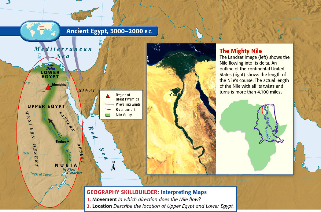 Egypt - Map of ancient egypt 3000 bc