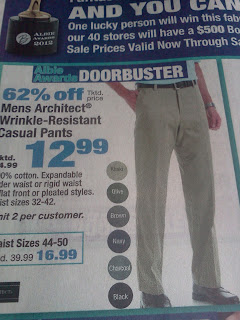 Boscov 12.99 khaki, with picture of same pant as the 19.99 ad.